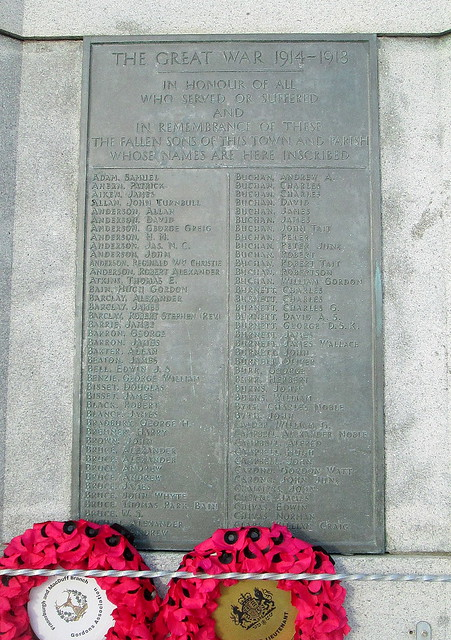Fraserburgh War Memorial Great War Inscription