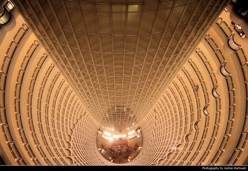 Looking down the 33 floor atrium of the Grand Hyatt Shanghai, Shanghai, China