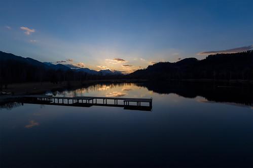 Sunset at lake Reßnig in Ferlach
