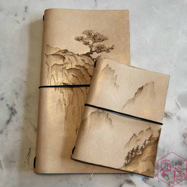 Toronto Pen Company Traveler's Notebook Leather Covers with Pyrography & Paintings 6