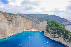 Aerial of Navagio Shipwreck Beach