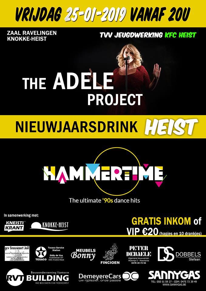 Nieuwjaarsdrink Heist met optredens van The Adele Project & Hammertime (zaal Ravelingen, Heist) 25/01/2019