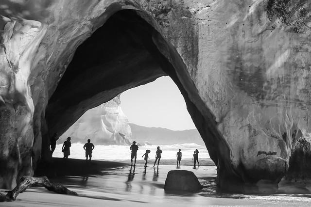 Cathedral Cove in B&W