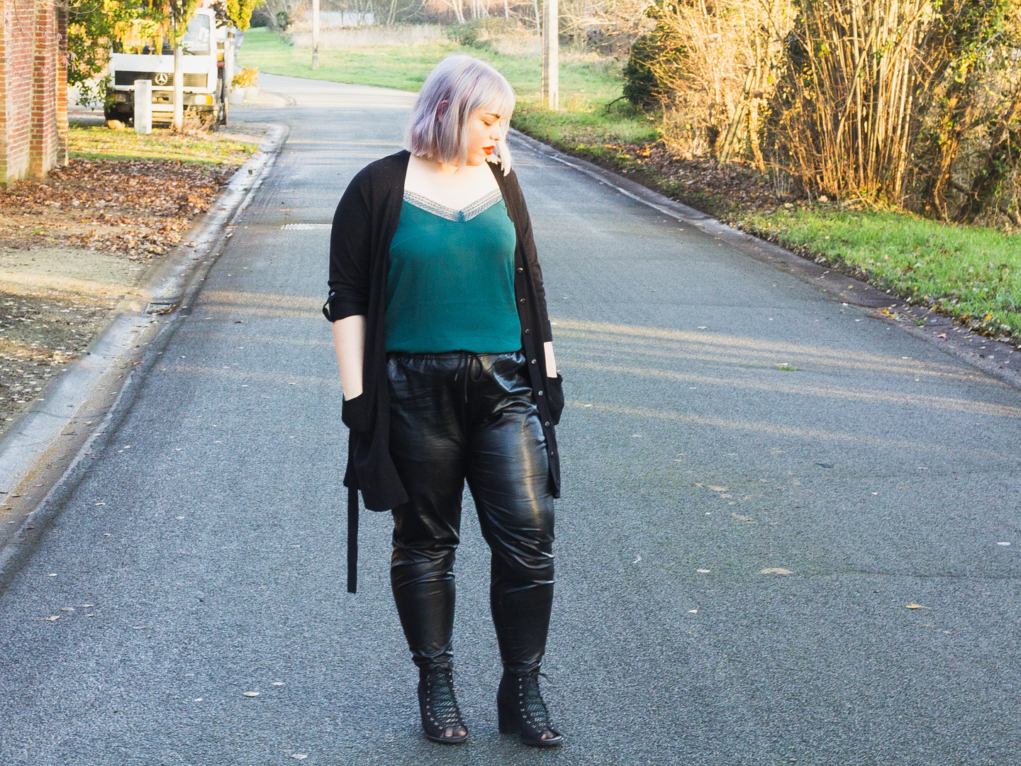 Leather & lace outfit