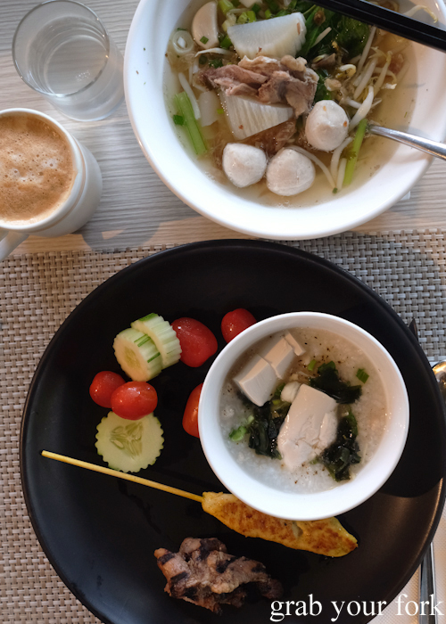Buffet breakfast noodle soup, congee and skewers at La Vela Hotel Resort in Khao Lak, Thailand