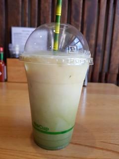 Vanilla Matcha Iced Latte from Sattva Yoga Cafe