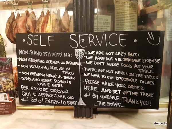 La Prosciutteria Firenze self-service
