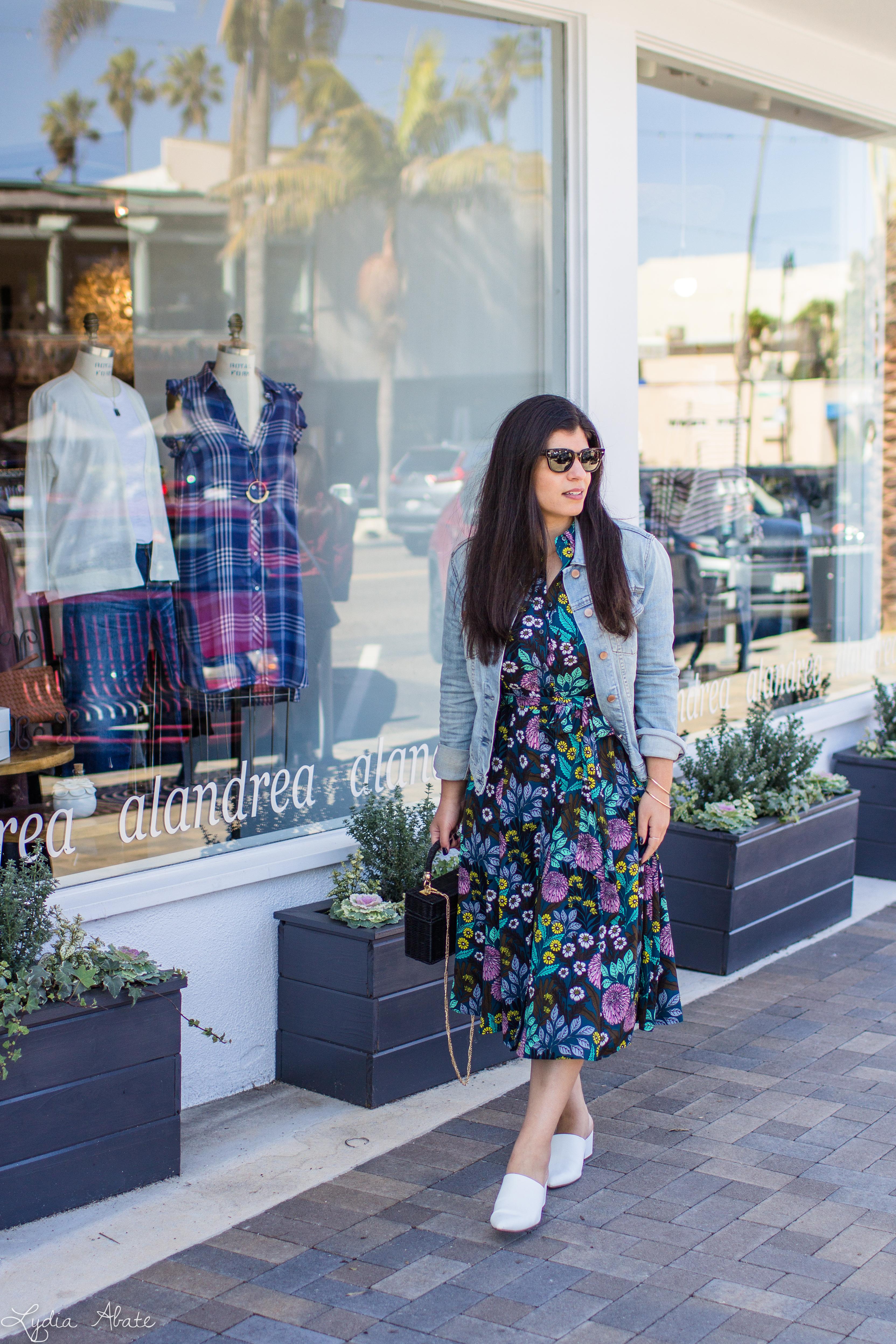 floral dress, denim jacket, black straw bag, white mules-2.jpg