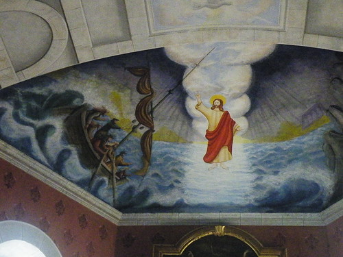 20090601 067 1111 Jakobus Castetnau Kirche Altarbild Jesus SeeSturm Apostel
