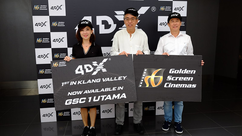 Ms. Koh Mei Lee, Chief Executive Officer, GSC with Mr. Irving Chee, General Manager, GSC and Mr. Heng Beng Fatt, Deputy General Manager, GSC at GSC1Utama, the first 4DX cinema in the Klang Valley