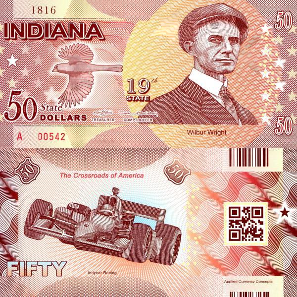 USA 50 Dollars 2015 19. štát - Indiana polymer