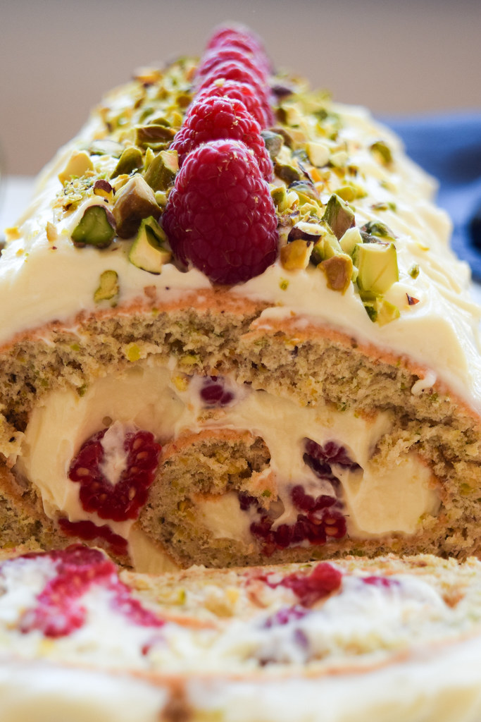 Cross Section of a Raspberry, Pistachio & White Chocolate Roulade