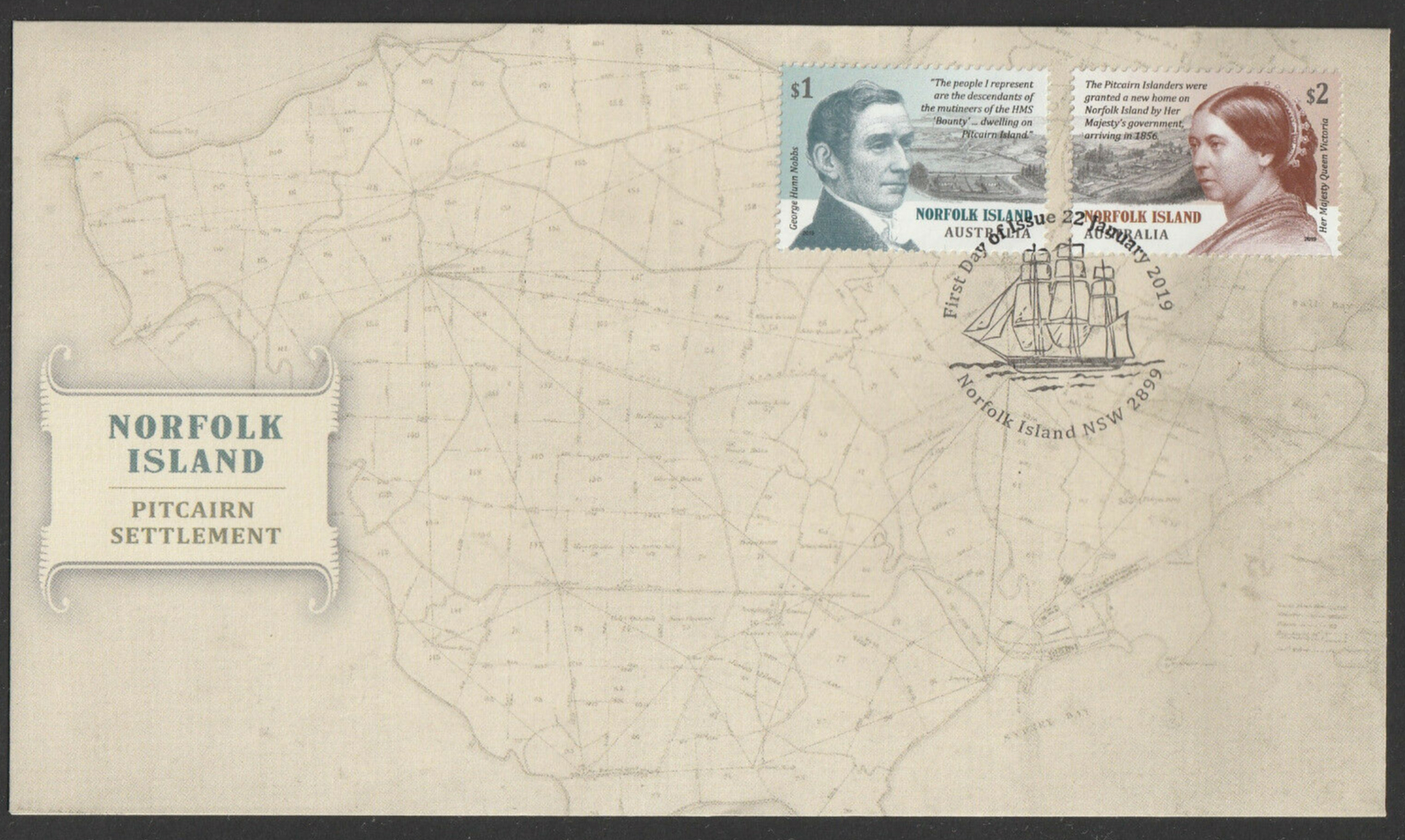 Norfolk Island - Pitcairn Settlement (January 22, 2019) first day cover