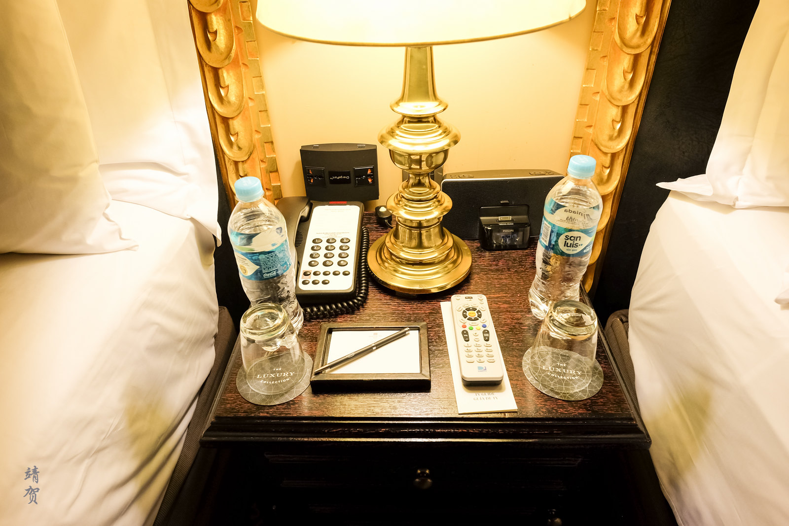 Bottled water in the bedside table