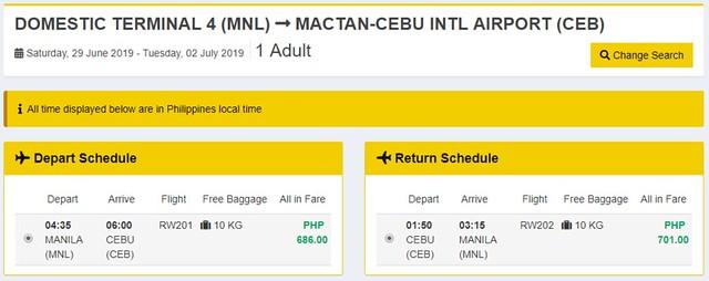 Manila to Cebu Royal Air Roundtrip Sale