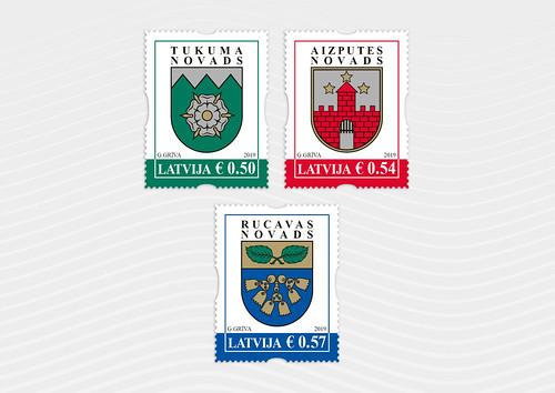 Pastmarkas - Aizputes, Rucavas un Tukuma novada ģerboņi