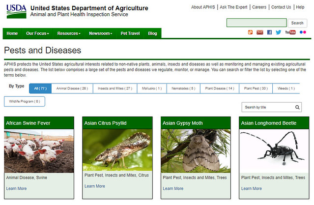 A screenshot of APHIS' Pests and Diseases page