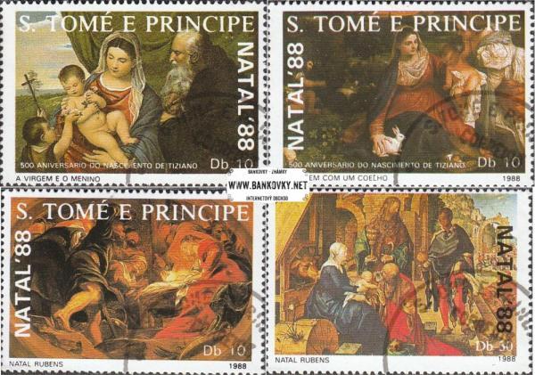 Známky Svätý Tomáš 1988 Vianočné maľby, razítk. séria