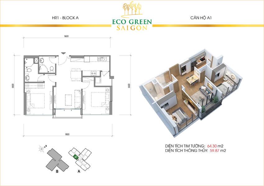Căn hộ loại A1 dự án Eco-Green Sài Gòn quận 7.