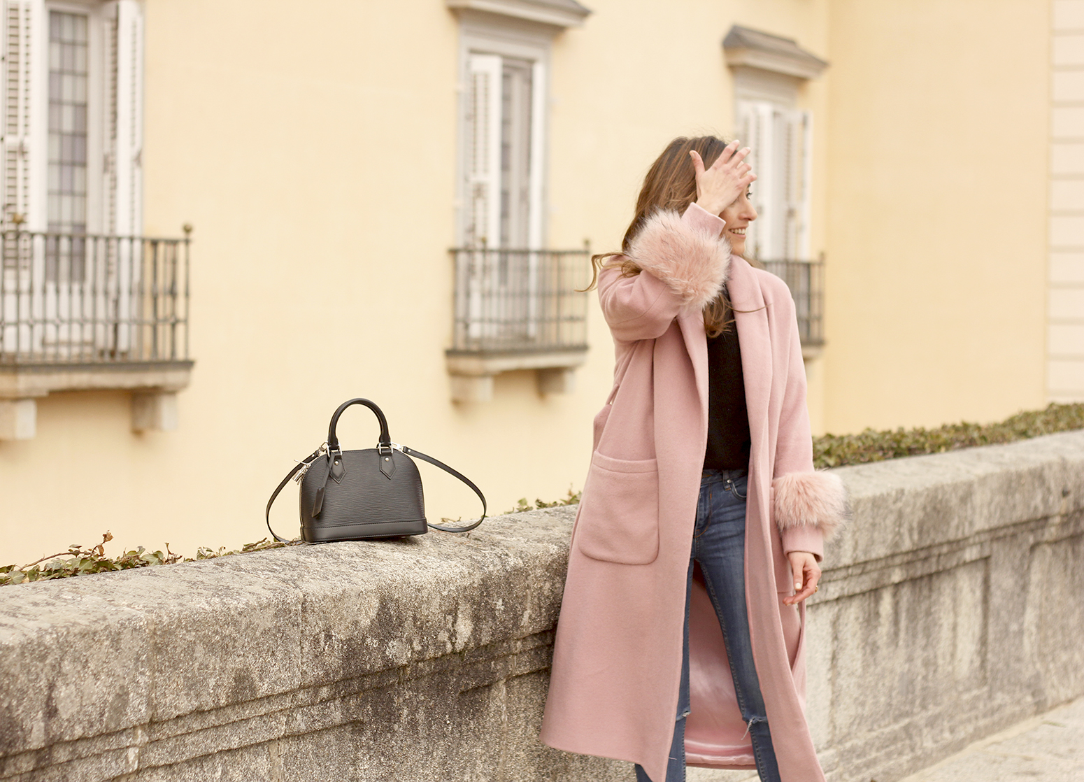 pink coat byleclair carolina herrera heels jeans louis vuitton ba street style outfit 20198