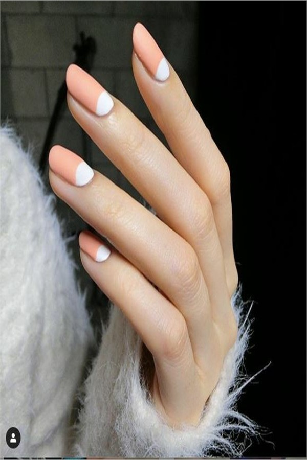 30+ Hottest Half Moon Nail Design Ideas to Inspire You #nail_art_designs #trendy_nails #half_moon_nails