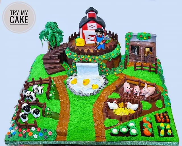 Old MacDonald Farm Theme Cake by Try My Cake
