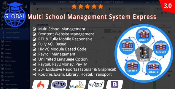 Global v3.0 – Multi School Management System Express