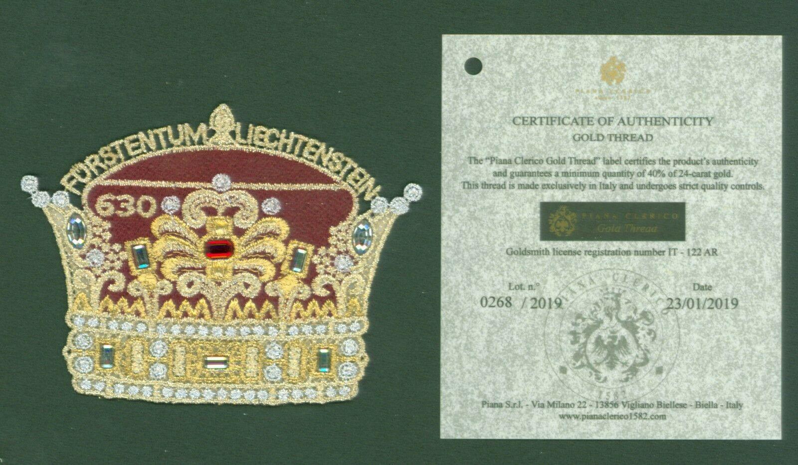 Liechtenstein - 300th Anniversary of Liechtenstein (January 23, 2019) limited edition gold-thread variety with certificate of authenticity
