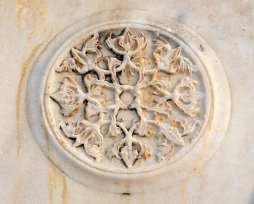 A marble medallion carved into a wall at the Taj Mahal in Agra, India