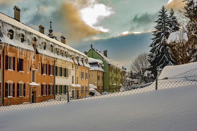 Winter Twilight time in La Chaux-de-Fonds , Jura Mountains (1,000m alt. ). Canton of Neuchâtel. Switzerland. Izakigur No. 1542.
