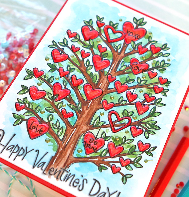 Valentine's Day Watercolor Card 5 close up