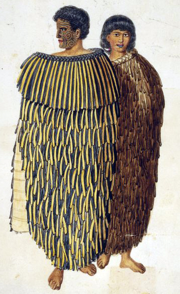 Hone Heke standing, his face in profile, wearing a flax cloak. At his left side and slightly behind him is Hariata, his wife, also in a flax cloak.