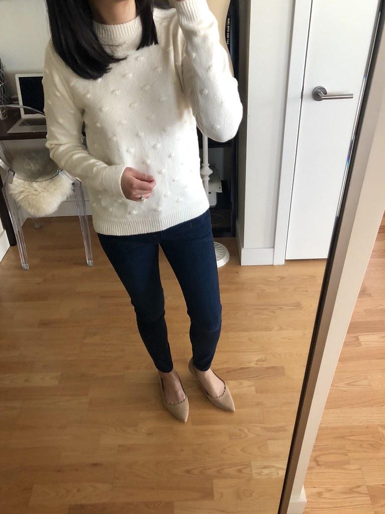 Who What Wear Long Sleeve Popcorn Stitch Crew Neck Sweater, size XS