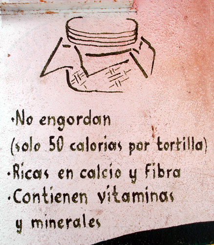 Tortillas are not fattening! at Barra de Navidad in Mexico