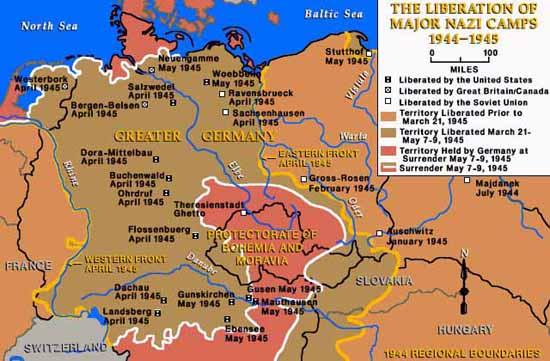 Mappa campi nazisti liberati dagli alleati