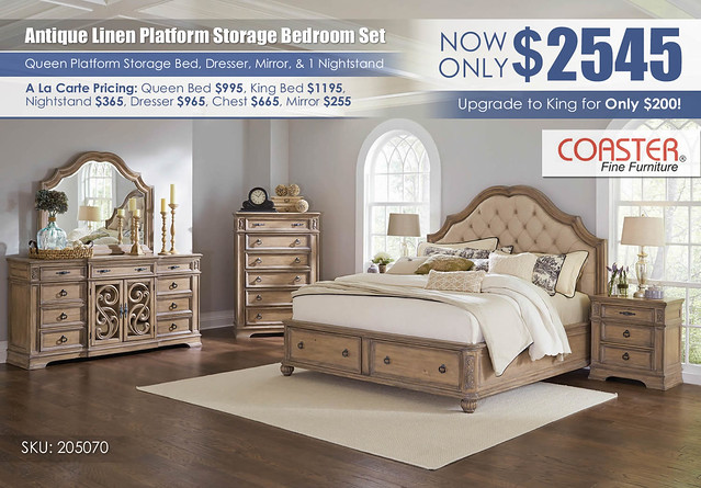 Antique Linen Storage Platform Bedroom Set_205070_Coaster