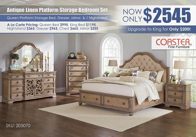 Antique Linen Storage Platform Bedroom Set_205070_Coaster