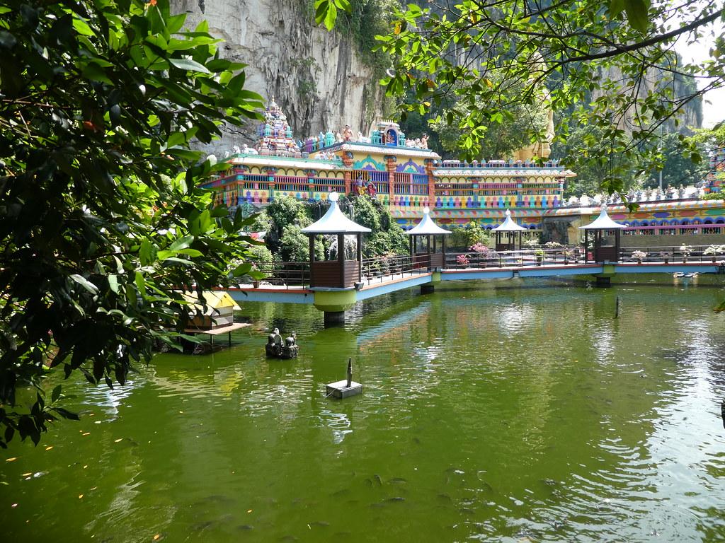 Pond at Batu Caves near the holy shrine