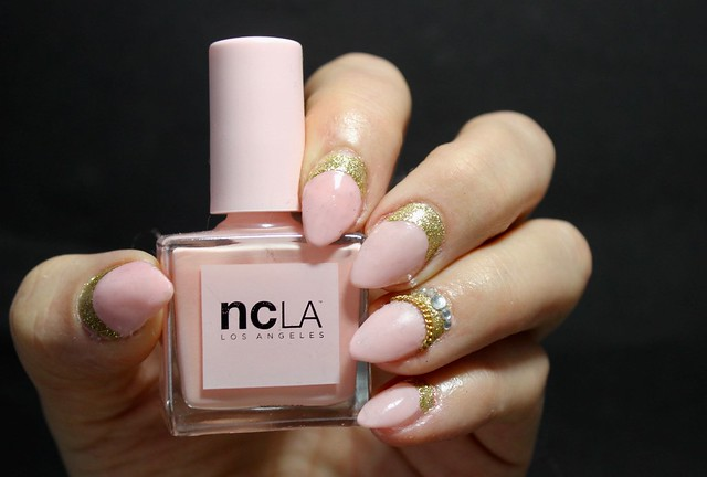 Nude golden nails rhinestones ncla rose sheer