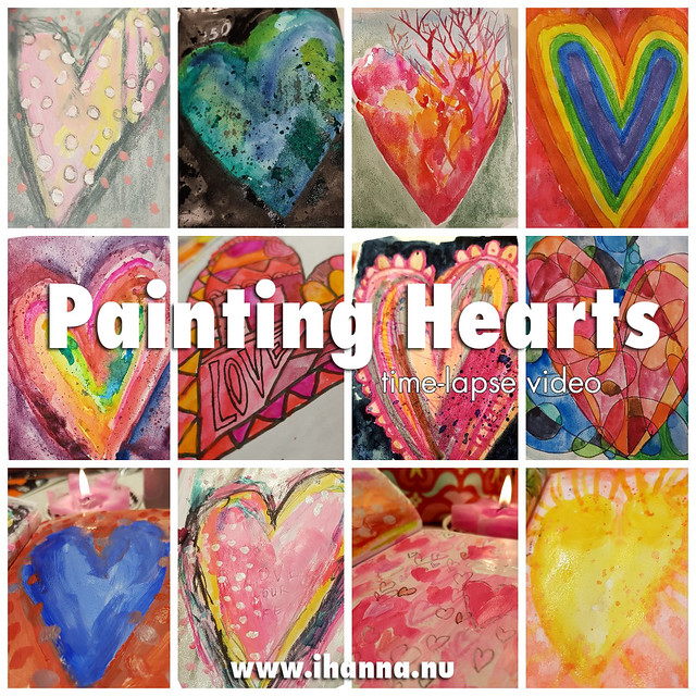 Painting Hearts - watch the time-lapse videos of all of these on my blog