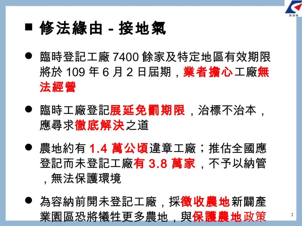 經濟部稱修法是為了「接地氣」。擷取自經濟部簡報。