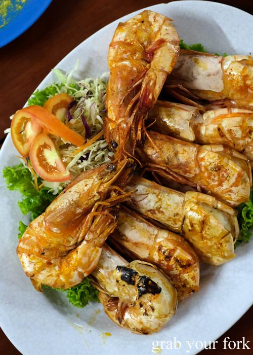 Grilled tiger prawns at Baan Khao Lak Seafood Restaurant in Thailand