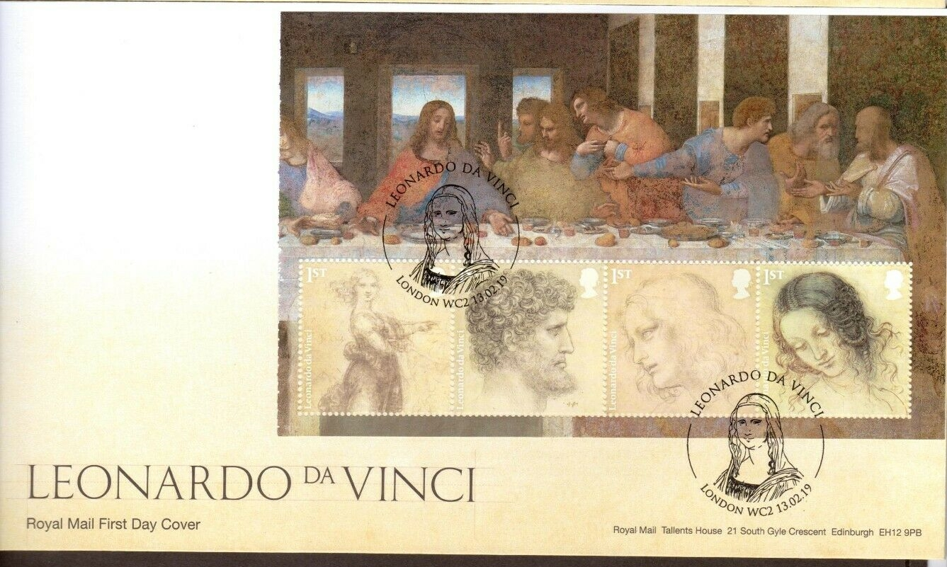 Great Britain - Leonardo da Vinci issue (February 13, 2019) first day cover;; one of four panes from prestige stamp book