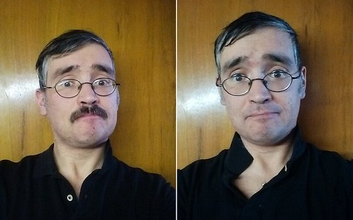 Me, with and without mustache