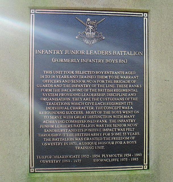 Dedication Infantry Junior Leaders Memorial , Oswestry