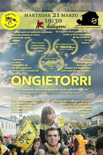 Cartel anunciador persentación documental Ongi Etorri