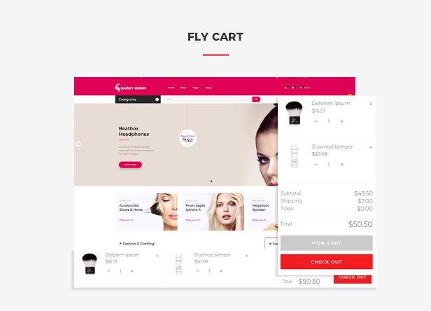 Ap Harleyquinn Organic Cosmetic Prestashop Theme - Flying ajax cart