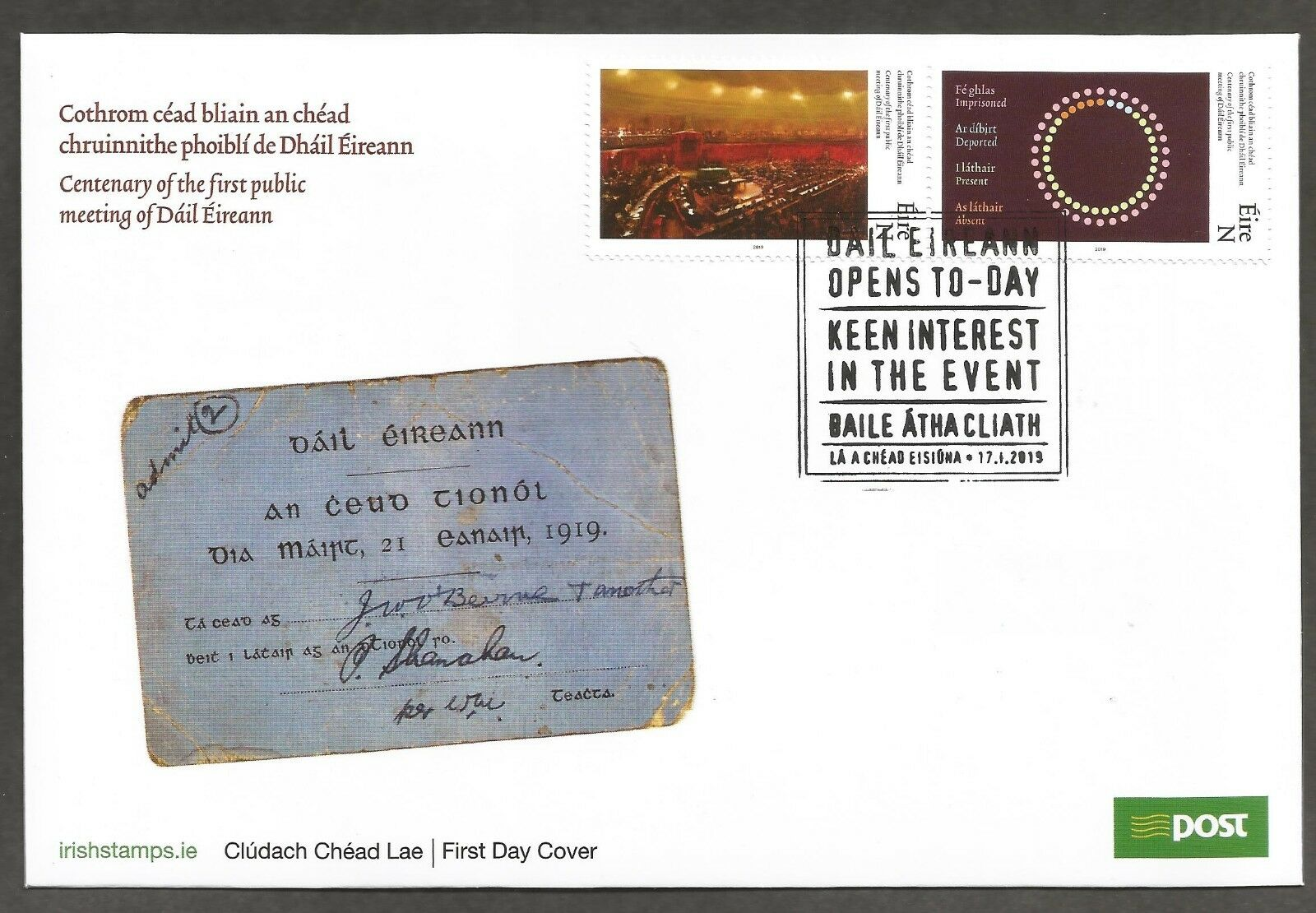 Ireland - 100th Anniversary of the 1st Public Meeting of Dáil Éireann / Lower House of the Irish Parliament (January 17, 2019) first day cover