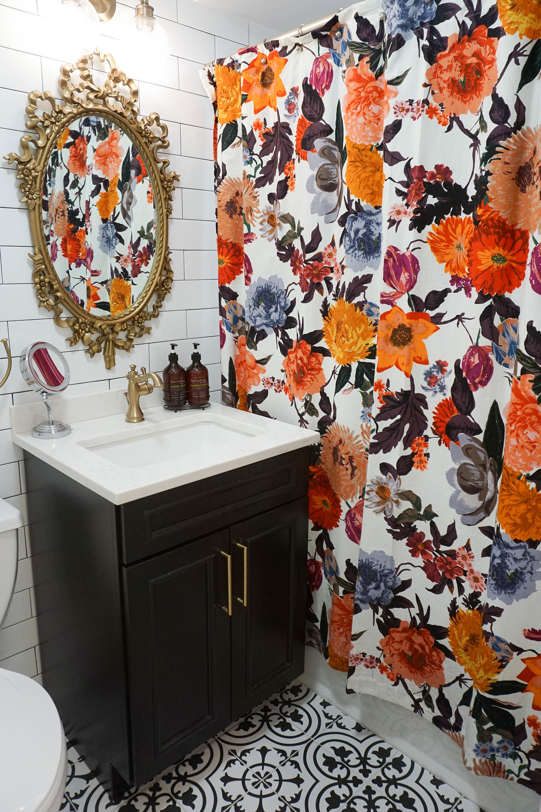 Anthropologie Agneta Floral Shower Curtain Vintage Gold Bathroom Mirror Black White Moroccan Floor Tile Black Vanity