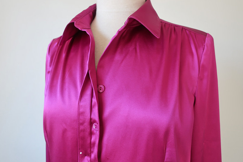 pink silk shirt and collar buttons